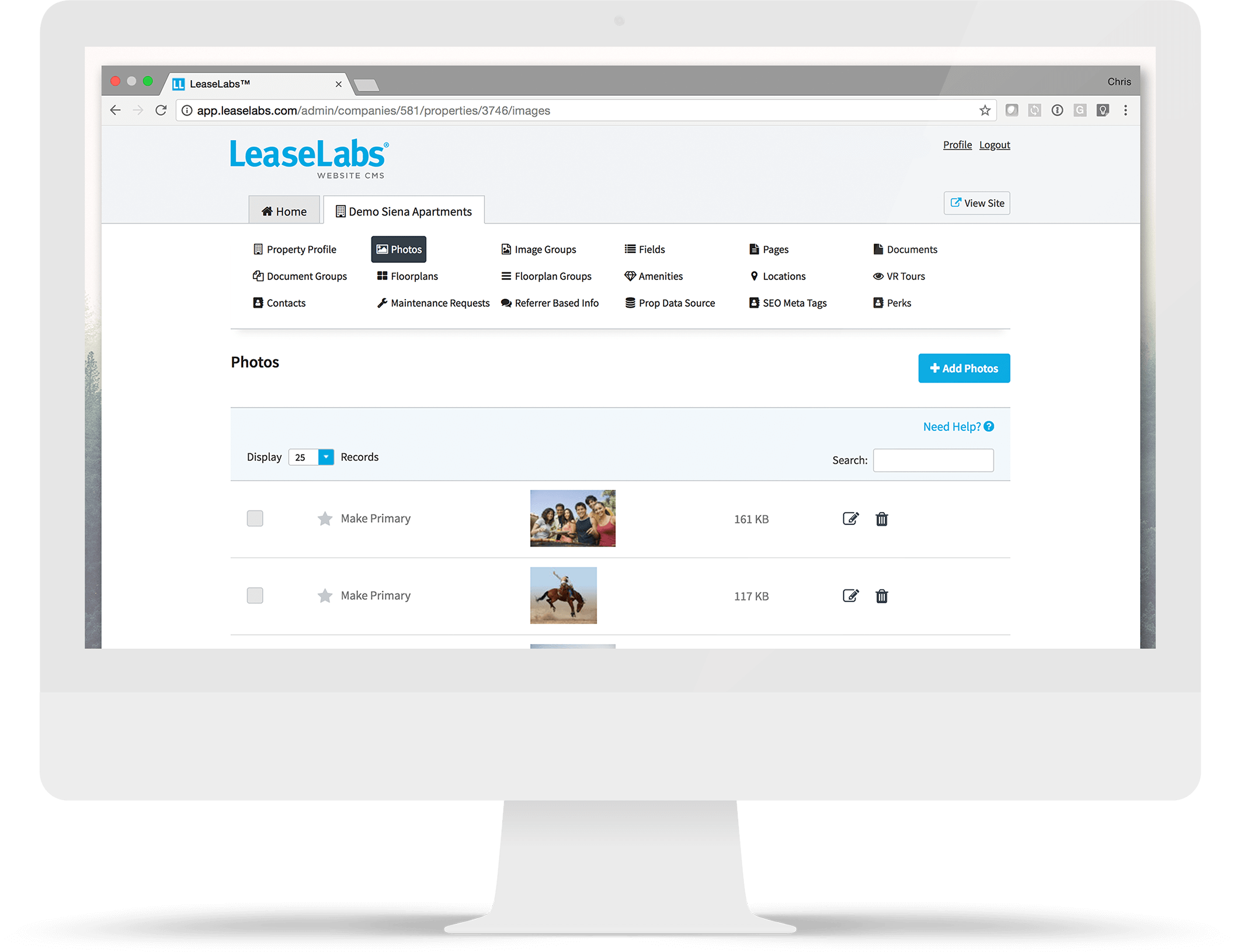 Computer Monitor with LeaseLabs CMS